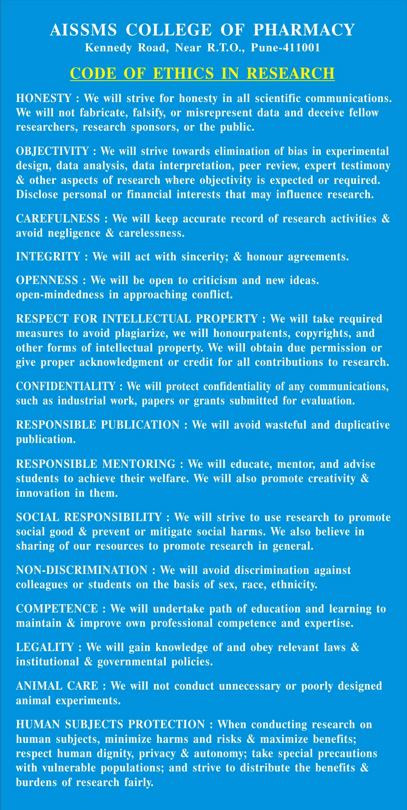 Code of Ethics in Research