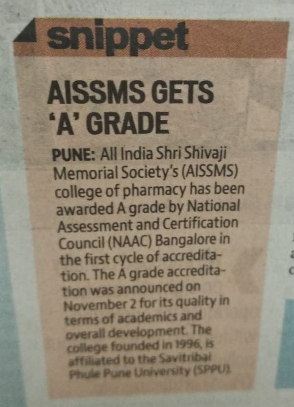 Accreditation by NAAC published in newspaper- Hindustan Times on 16th November 2018